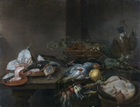 nature morte aux poisson, volaille, homard, vaneau, perdreaux (in 5 parts) by alexander adriaenssen