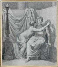 l'invention de la peinture (study for porcia évanouie) by vincenzo camuccini