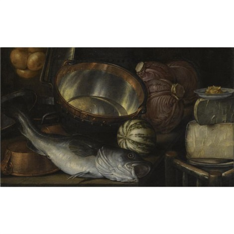 a still life with a fish onions cabbage cheese and copper pots by cornelis jacobsz delff