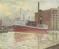 petrol boat in the river by walter ufer