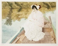 élégante en capeline dans une barque by louis abel-truchet