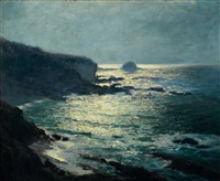 moonlight - arch beach, laguna by guy rose