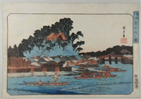 les sites célèbres de la capitale de l'est. matsuchiyama no zu. vue du mont matsuchi by ando hiroshige