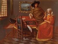 herr und dame beim wein by johannes (van delft) vermeer