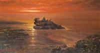 sunset in tanah lot, bali by sudjono abdullah