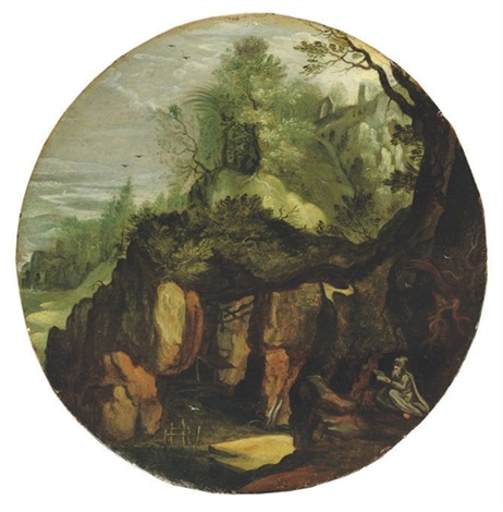 a rocky landscape with a hermit saint reading underneath a tree by lucas van valkenborch