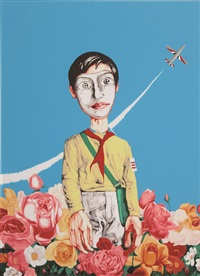 men with flowers (from mask series) by zeng fanzhi