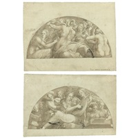 lunettes with central female allegorical figures, one with a mandolin player (+ lunettes with central female allegorical figures, the other with a violin player surrounded by other female musicians; 2 by ippolito andreasi