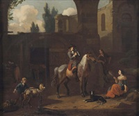 a traveller on horseback, resting by a stable with other figures by dirk maes