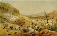 shepherding sheep, northern south australia by samuel thomas gill