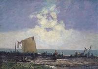 pescatori sulla spiaggia by licinio barzanti