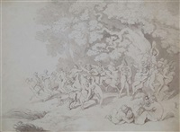 nymphs and satyrs cavorting by thomas rowlandson
