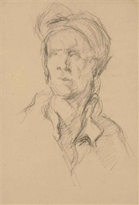 buste de nicolas coustou, par guillaume coustou (d'après le marbre du louvre) by paul cézanne