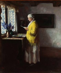 interior with a standing woman dressed in a yellow shirt and blue tiles in the window, presumably from the frisian islands by herman albert gude vedel