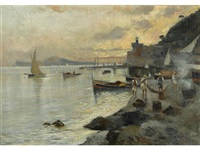 fishermen on the shore at sunset by edwin austin abbey