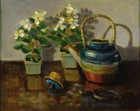 teapot and begonias by mary thompson