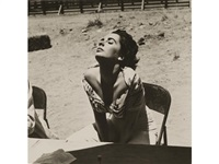 elizabeth taylor on the set of giant, marfa, texas by sid avery