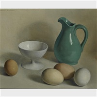 eggs and a green jug by jacques blanchard