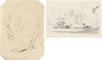 rocks on the wharfe (+ house; 2 works) by john ruskin