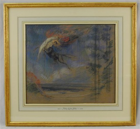flight of the night (study) by philip leslie hale