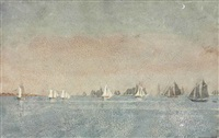 gloucester harbor, fishing fleet by winslow homer