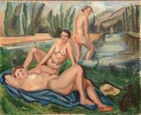 trois baigneuses à la campagne by andré favory