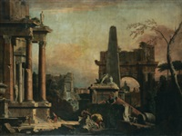 a capriccio of classical roman ruins by marco and sebastiano ricci