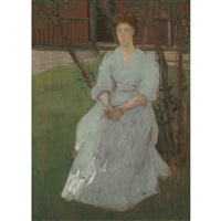 anna (the artist's wife) by julian alden weir