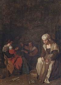 a peasant family in an interior by michael sweerts