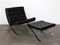 barcelona chair and ottoman by ludwig mies van der rohe