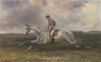 a jockey on a grey in full gallop by thomas hillier mew