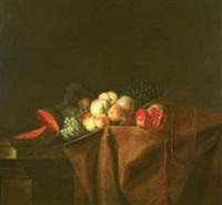 nature morte aux pêches, grenade et autres fruits (+ nature morte aux légumes; pair) by a. babron