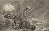kunstnerne fisker i regnvær by thomas fearnley