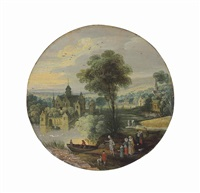 a river landscape with an elegant company, a manor house beyond by joos de momper the younger
