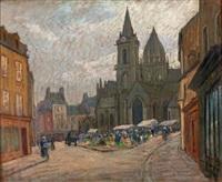 marché devant l'église, cotentin (?) by maurice pigeon