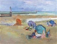 scène de plage au phare by henri saada
