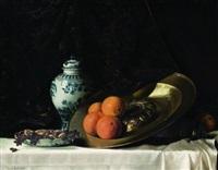 arance su un piatto di peltro, un vaso di maiolica, frutti su un tavolo by armand bouchè