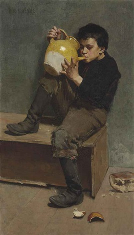 little vagabond drinking from jug by theodore wendel