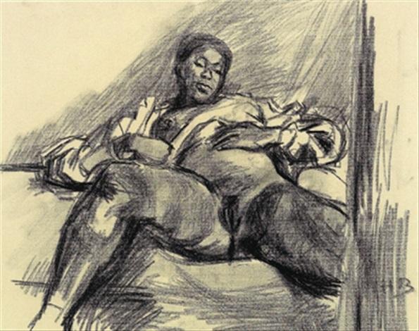 sitzende mit nach oben geschobener bluse by hans böhler