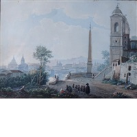 view of rome from the steps of santa trinita dei monte by henri lévêque