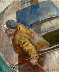 los ved roret / seil i le by christian krohg
