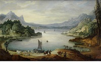 fishermen unloading their catch, a mountainous river landscape beyond by joos de momper the younger
