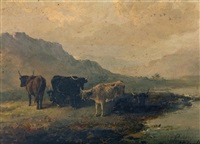 highland cattle in landscape by edward robert smythe