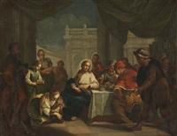 christus und maria magdalena bei der fußwaschung by jacopo amigoni