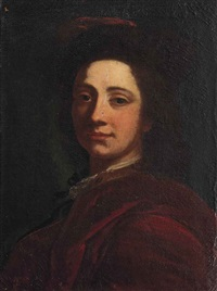portrait of a gentleman, bust-length, in a red cloak and hat by cesare dandini