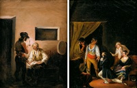 escenas románticas (pair) by leonardo alenza y nieto