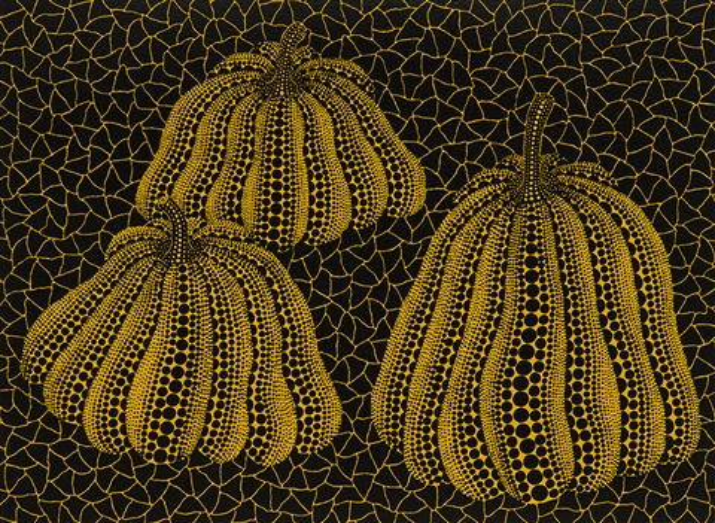 three pumpkins kusama 186 by yayoi kusama