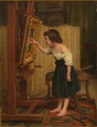 girl admiring a painting by charles edouard frère