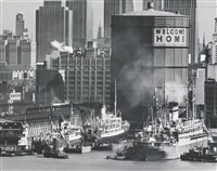 commuters leaving the staten island ferry and welcome home, new york harbor (2 works) by andreas feininger