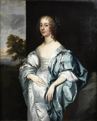portrait of lady mary verney, three-quarter-length, in a blue dress, standing before a landscape by sir anthony van dyck